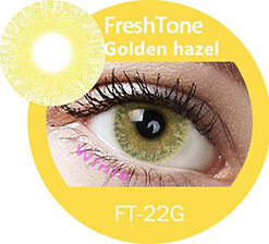 freshtone golden ash -golden hazel cosmetic contact lenses, circle lenses, colored contacts