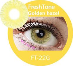 freshtone golden ash -golden hazel cosmetic contact lenses, circle lenses, colored contacts