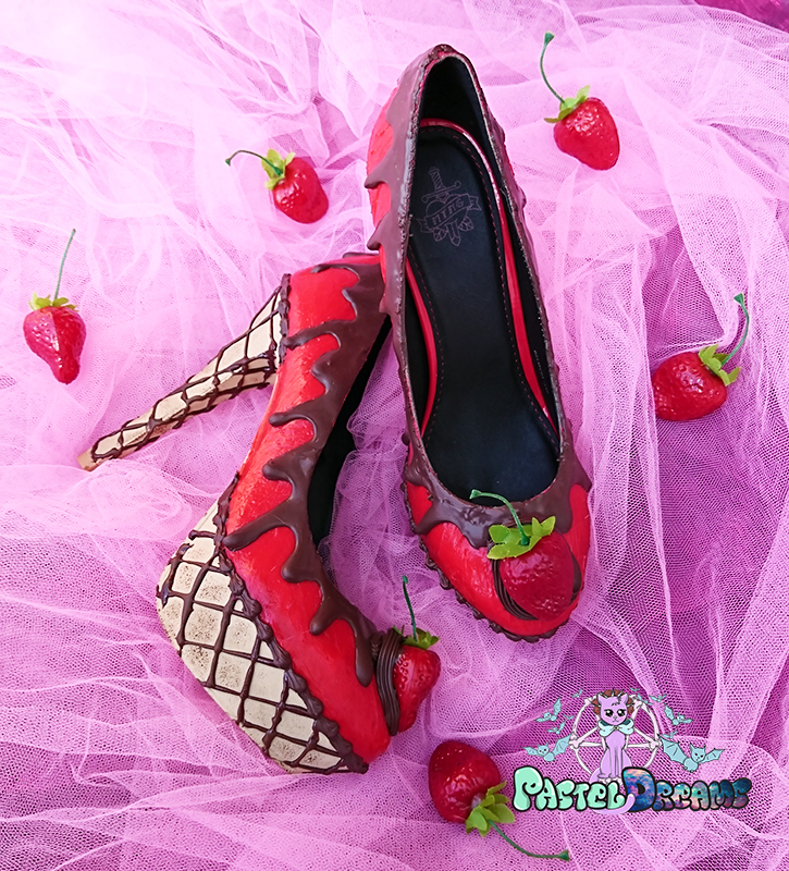 ice cream cupcake cake jelly red custom shoes, high heels, chocolate, pastel goth kawaii cute sugar sweet harajuku candy