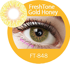 freshtone extra gold honey hazel cosmetic contact lenses, circle lenses, colored contacts
