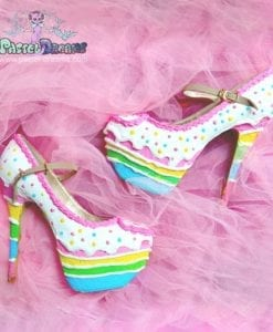 Birthday rainbow cake shoes  custom made heels shoes one of the kind, party kei