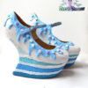 Blue rainbow custom made heelless heels shoes one of the kind, Pastel Goth