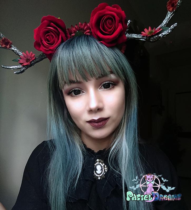 hand made kawaii cherry rose deer antlers, custom headpiece, headband,headwear