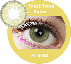 freshtone diva butter hazel cosmetic contact lenses, circle lenses, colored contacts