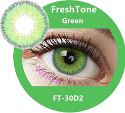 freshtone diva green cosmetic contact lenses, circle lenses, colored contacts