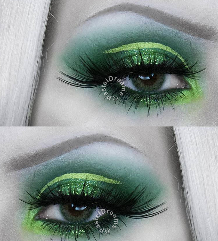 reshtone extra party green cosmetic contact lenses, circle lenses, colored contacts