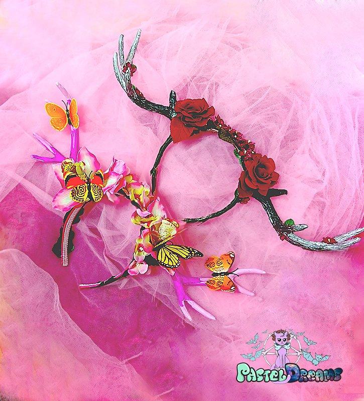Handmade ''Cherry Rose'' Deer Antlers headband , headpiece