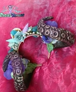 handmade tentacles headband with shells and flowers, headpiece