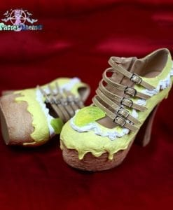 Lemon cake custom made chunky heels shoes one of the kind, Pastel Goth