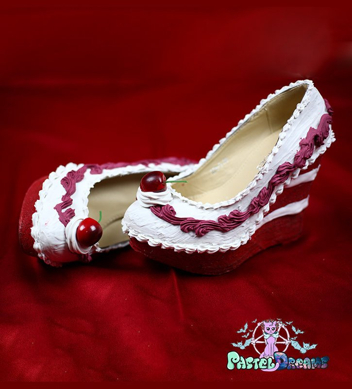 Red velvet cake shoes custom made heels wedges shoes one of the kind, Kawaii