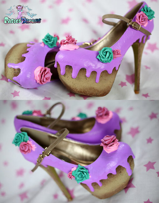 Rosa cake custom made heels shoes one of the kind, Pastel Goth