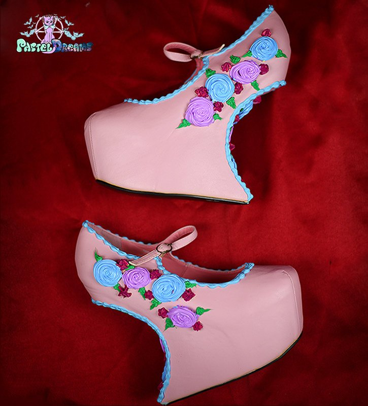 Secret Garden floral rose cake shoes custom made heels wedges shoes one of the kind, Kawaii