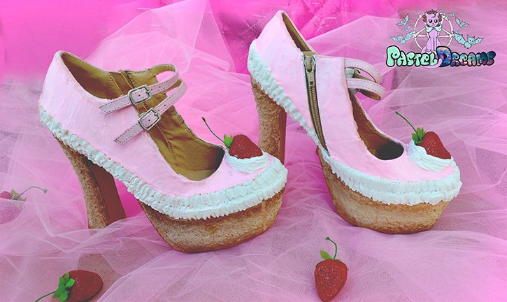 strawberry cake custom made heels shoes one of the kind, Pastel Goth