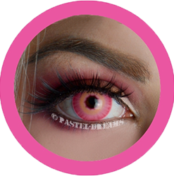 SFX pink jinx cosplay lenses. costume lenses, theatrical contacts, sfx lenses, halloween colored lenses, primal lenses