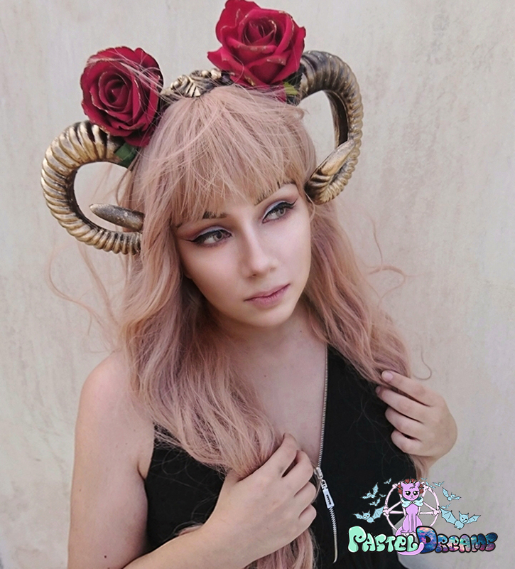 gold horns custom headpiece, headwear,headband