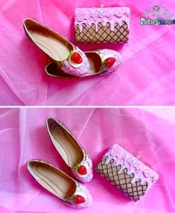 icecream pink-lavender flat shoes plus matching cake bag, kawaii, handmade,fairy kei, lolita, wedding shoes,wedding bag
