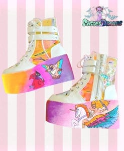 shera demonia platform shoes,usagi,luna,artemis,chibi moon, edm shoes, flatform, hand painted, kawaii, fairy kei, party kei, harajuku