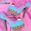 ice cream, cupcake, cake, custom shoes, pastel goth, kawaii, high heels, bright blue and pink color