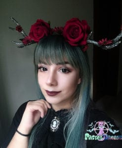 hand made kawaii cherry rose deer antlers, custom headpiece, headband,headwear