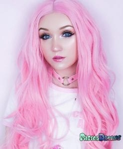 Lace front wig, pink wig, synthetic, realistic wig,cosplay wig