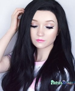 Lace front wig, black, synthetic, realistic wig,cosplay wig