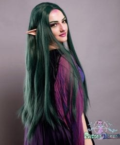 green wig, pagan look, green straight lace front wig, druid look