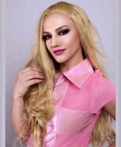 wavy blonde barbie looking lace front wig for kawaii, fairy kei or doll like fashion looks