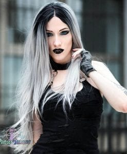 straight lace front silver wig for witchy or fashion looks