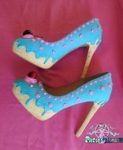 custom made cake high heels shoes in bubblegum blue - strawberry