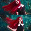 straight lace front wine red wig for witchy, gothic or just cosplay looks