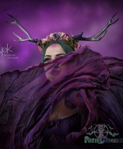 hand made kawaii violet peonies deer antlers, custom headpiece, headband,headwear